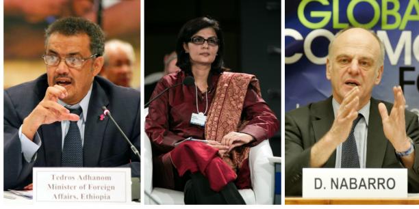 Tedros Adhanom Ghebreyesus, Sania Nishtar et David Nabarro, les trois candidats à l'élection au poste de directeur général de l'OMS.