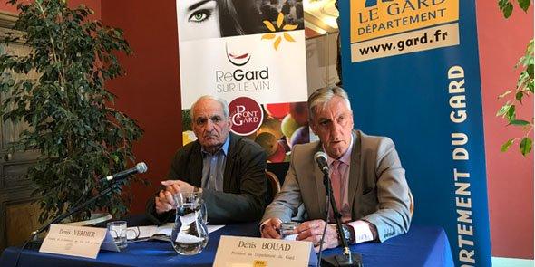 D. Verdier (Fédération gardoise des Vins IGP) et D. Bouad (Département du Gard)