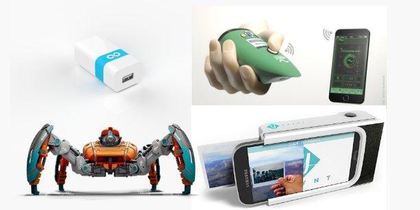 Hardware Club a déjà participé au financement de plusieurs startups : (de gauche à droite et de haut en bas) le boîtier Lima, le capteur olfactif d'Aryballe, les robots de jeu Reach Robotics et le polaroïd pour smartphone Prynt.