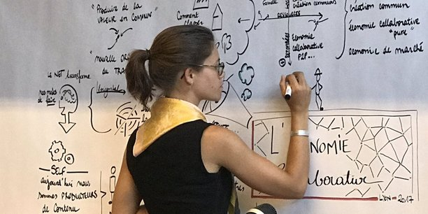 Lors de la Fabrique d'Idées, une illustratrice synthétise graphiquement les propos des intervenants.