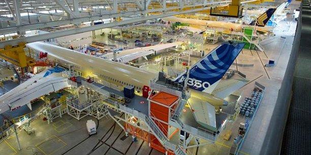 La chaîne d'assemblage de l'A350 à Blagnac