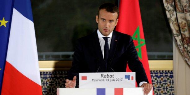 Le président français Emmanuel Macron lors de la conférence de presse tenue à l'occasion de son voyage à Rabat (Maroc), le 14 juin 2017.