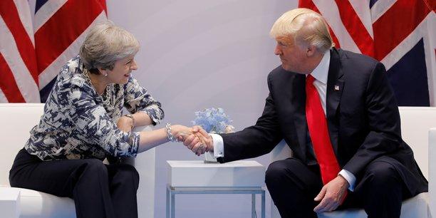 Theresa May, Première ministre britannique et Donald Trump, au G20 organisé à Hambourg, le 8 juillet.