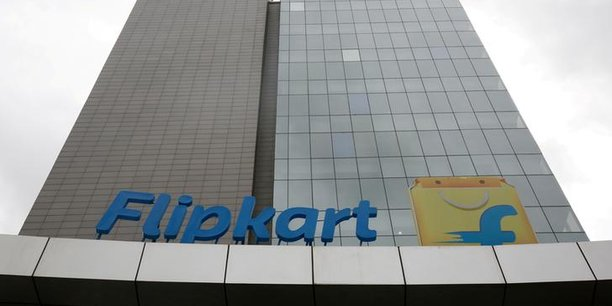 Le logo de la plus grande entreprise de commerce électronique d'Inde, Flipkart, est vu sur la façade du siège de la société à Bengaluru, en Inde, le 7 juillet 2017.