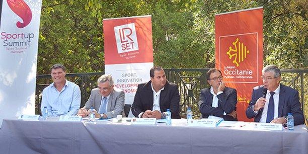 Fabien Pelous, Pascal Etienne (DRJSCS), Kamel Chibli (Région Occitanie), Jean-Marc Oluski (LR Set) et Jean-François Manlhiot (Caisse d'Epargne Languedoc-Roussillon).