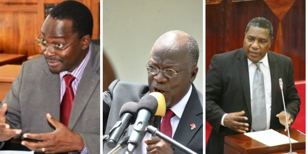 La démission de George Simbachawene (g) et d'Edwin Ngonyani (d) intervient après la déclaration du président Magufuli (m) qui a invité tout haut responsable cité dans les rapports d'enquêtes à quitter son poste.