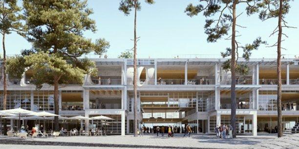 Vue d'architecte de la future Halle French Tech, premier équipement livré, fin 2019, au sein du nouveau quartier
