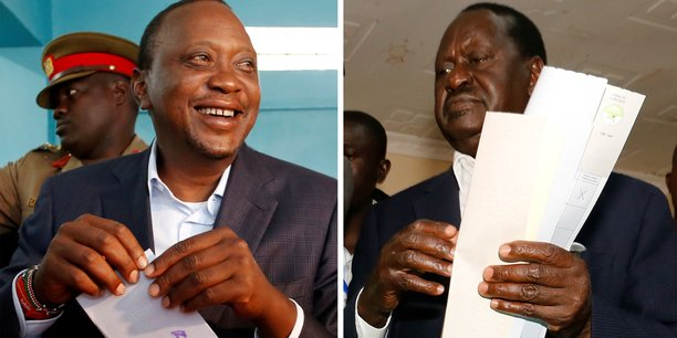 Uhuru Kenyatta, le président sortant et son rival Raila Odinga, lors de la présidentielle, à Nairobi, la capitale kényane, le 8 août dernier.