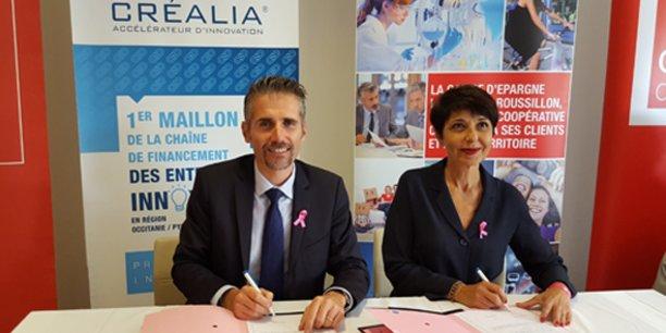 Stéphane Marcel, président de Créalia, et Christine Fabresse, présidente du Directoire de la Caisse d'Epargne Languedoc-Roussillon, le 4 octobre 2017.