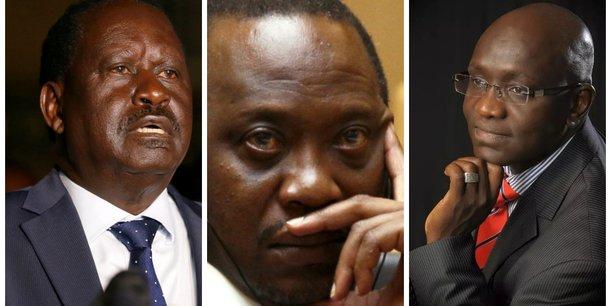 Raila Odinga, qui a décidé son retrait de la course à la présidentielle ; Uhuru Kenyatta, le président en exercice et dont le mandat expire en novembre prochain ; et Ekuru Aukot, leader de l'Alliance de la «Troisième voie» et candidat à la présidentielle kényane.