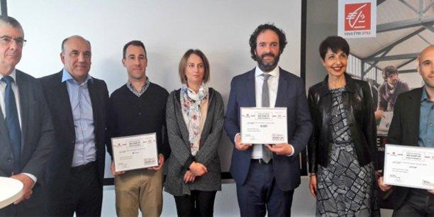 J.-F. Manlhiot et C. Fabresse, de la CELR, entourés des experts et labellisés Néo Business