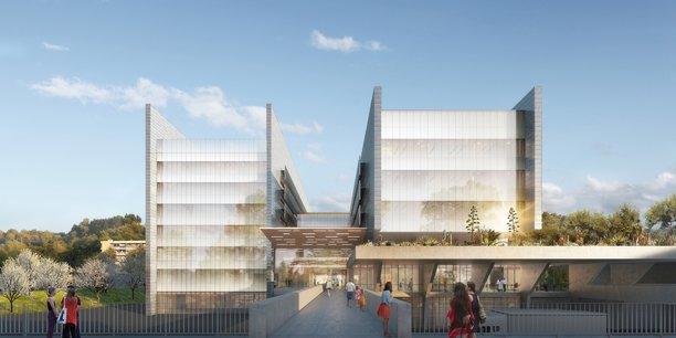 L'entrée du futur bâtiment unique de biologie du CHU Montpellier.