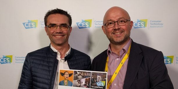 Benoit Mirambeau et Nicolas Babin hier à Paris lors la remise du prix Innovation du CES Las Vegas.