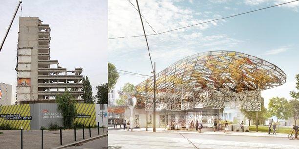 A gauche, la tour Utrillo en cours de démolition, site qui doit accueillir la future gare gare Clichy-Montfermeil (à droite) dessinée par le cabinet d'architecture catalan Miralles Tagliabue.