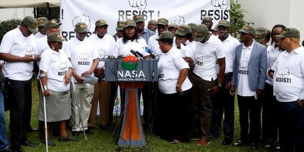 Des parlementaires du parti de l'opposition kényane, National Super Alliance (NASA), lors de la conférence de presse tenue le 3 novembre 2017 à Nairobi.