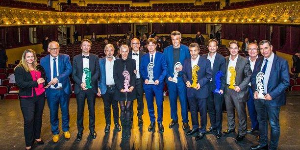 Jean-Claude Gallo, directeur de publication d'Objectif Languedoc-Roussillon, entouré par les lauréats du Gala