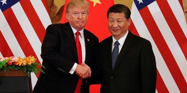 Trump et son homologue chinois Xi Jinping après leurs discours officiels ce jeudi 9 novembre.