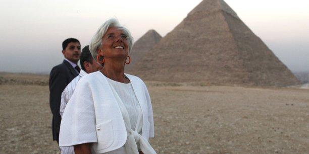 Christine Lagarde, directeur général du Fonds monétaire international, à El Giza le 22 août 2102, en marge d'une visite officielle en Egypte.