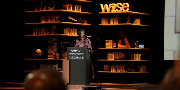 Michelle Obama, alors Première dame, lors de l'édition 2015 du sommet WISE a Doha.