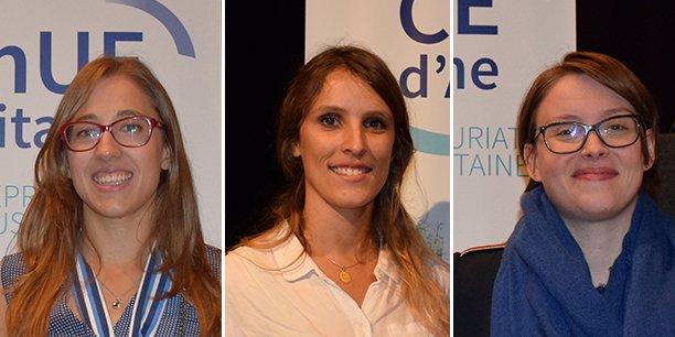 Les lauréates aquitains du concours national Pépite : Séverine Zakoian (Teneo), Lucie Le Bouteiller (Hopen) et Maryne Cotty-Eslous (Lucine)