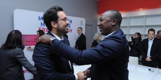 Mounir Mahjoubi et Bertin Nahum (Quantum Surgical) à l'Hôtel French Tech de Montpellier.