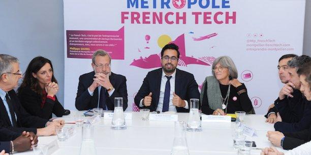 M. Mahjoubi (au centre), aux côtés du préfet de l'Hérault P. Pouëssel, de C. Marion (Métropole), d'élus et de représentants de l'écosystème French Tech
