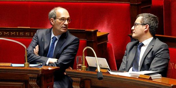 A la proposition d'Eric Woerth (à gauche) d'étendre le CICE jusqu'à 3,5 Smic, au lieu de 2,5 Smic, le rapporteur général Joël Giraud s'est opposé vu son coût de 13 milliards d'euros, un peu trop astronomique.