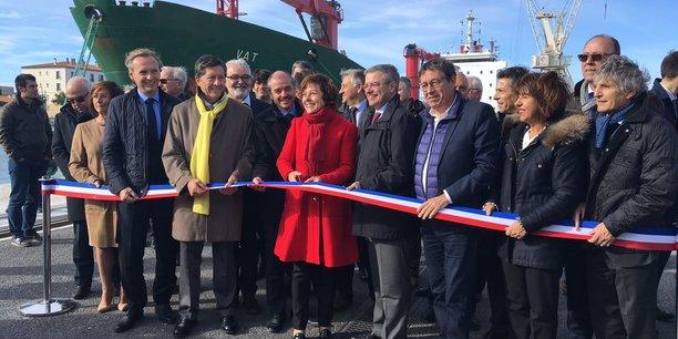Carole Delga, aux côtés de nombreux élus locaux, inaugure les nouvelles infrastructures de Port-la-Nouvelle