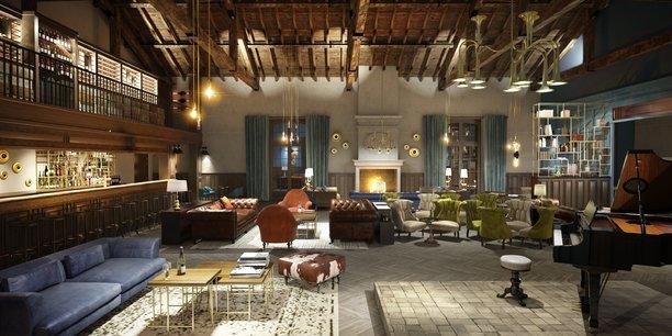 Vue du futur bar de l'hôtel 5 étoiles Chais Monnet