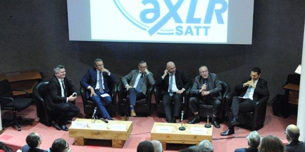 Une des tables rondes lors de la soirée anniversaire (5 ans) de la SATT AxLR, le 27 novembre 2017 à Montpellier.