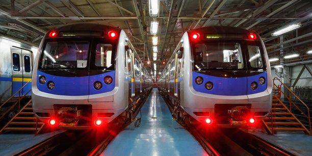 Des modèles de rames de Hyundai Rotem équipant le métro d'Almaty, la principale ville du Kazakhstan.