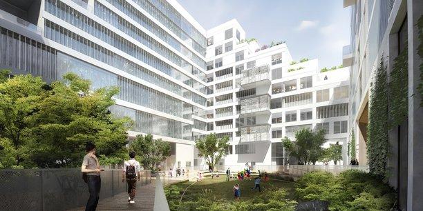 Le programme prévoit notamment un jardin en îlot (notre image) de 1.200 m2 avec plus de 700 variétés végétales.
