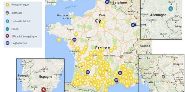La carte des 272 projets déjà financés par le fonds Eiffel Energy Transition, qui vient d'être abondé par l'Ademe à hauteur de 40 millions d'euros, bouclant ainsi le tour de table de 200 millions d'euros. Il s'agit avant tout de projets de centrales solaires.