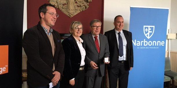 Jean-Paul César (adjoint au maire), Patricia Goriaux (directrice Orange Sud), Didier Mouly (maire de Narbonne) et Philippe olmos, expert IoT chez Cisco.
