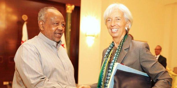 Christine Lagarde en compagnie de Ismail Omar Guelleh, président de Djibouti