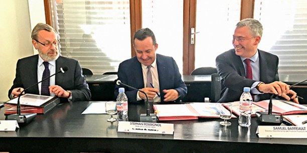 Pierre Pouëssel, préfet de l'Héarult, Stéphan Rosignol, maire de La Grande Motte et Samuel Barreault, directeur départemental des finances publiques.