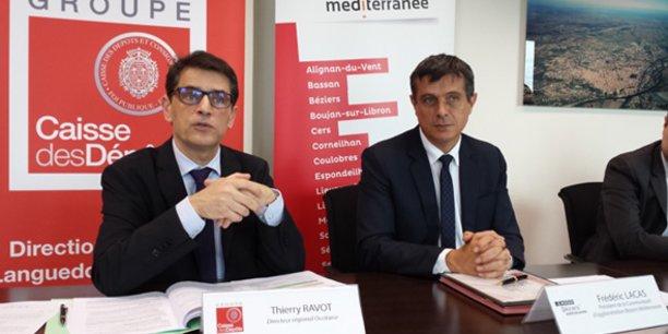 T. Ravot (Caisse des dépôts) et F. Lacas (Béziers Méditerranée) signent une convention partenariale