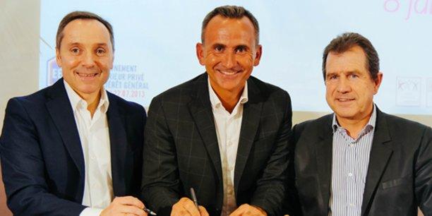 Christophe Alaux (Vacalians), Matthias Baulaud (MBS) et André Deljarri (CCI 34) ont signé le partenariat entre Vacalians et Montpellier Business School le 8 janvier 2018.