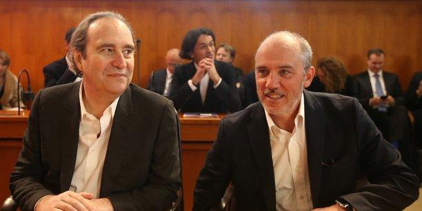 Xavier Niel (à gauche) et Stéphane Richard, les chefs de file d'Iliad (Free) et d'Orange.