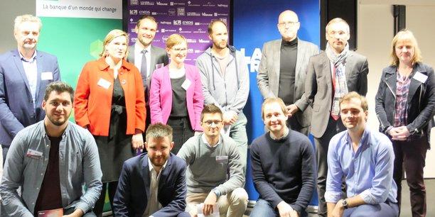 Le jury et les lauréats régionaux de l'étape lilloise du prix La Tribune 1000 startups pour changer le monde.