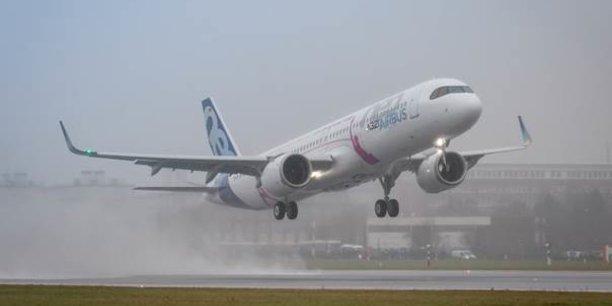 Premier vol de l'A321 LR ce mercredi 31 janvier 2018 à Hambourg.