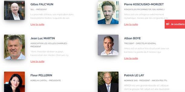 Quelques unes des personnalités signataires de la pétition de soutien en faveur  d'Arkéa, qui est prêt à prendre son indépendance et à renoncer à la marque Crédit Mutuel.