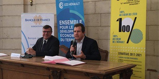 Christian Jacques Berret, directeur départemental de la Banque de France, et André Deljarry, président de la CCI Hérault
