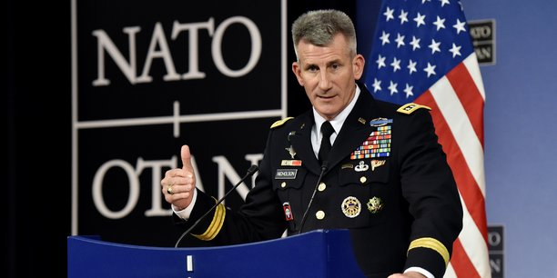 Le général américain John Nicholson, lors d'une conférence de presse sanctionnant une réunion de l'OTAN, le 9 novembre dernier à Bruxelles.