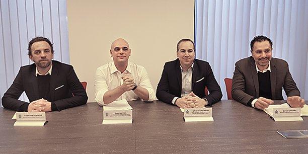 Guillaume Ponseillé (Oc Santé), François Hüe (Oc Santé), Olivier Constantin (Clinipole) et Daniel Lehmany (Transports Sanitaires d'Occitanie).