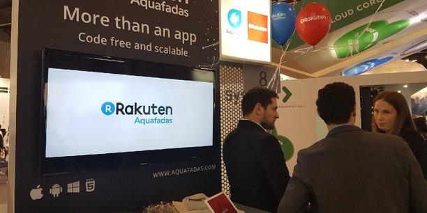 Le stand d'Aquafadas-Rakuten au salon MWC de Barcelone.