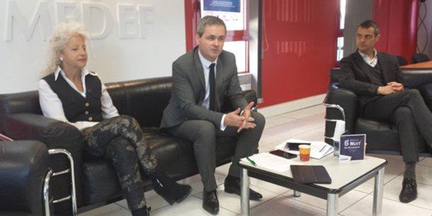 S. Hervé, entouré de la consultante M. Francalanci et A. Del Rio (Label d'Oc)