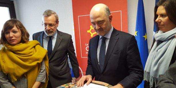 Le 27 février 2018, Pierre Moscovici était à Montpellier, aux côtés de Emmanuelle Gazel (vice-présidente de la Région Occitanie), Pierre Pouëssel (préfet de l'Hérault) et Virginie Rozière (député européenne).
