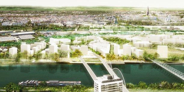 Inscrite sur 75 hectares, la ZAC des Deux-Rives, en chantier depuis 2015, prévoit 4.800 logements, soit 15.000 habitants auxquels s'ajouteront 5.000 emplois.  L'enjeu, symbolique et de longue haleine, s'étalera sur deux décennies. (En image de synthèse : Strasbourg vue de la ZAC des Deux-Rives.)