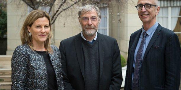 De gauche à droite : Anne-Lucie Wack, Gilles Trystram et Grégoire Thomas au ministère de l'Agriculture